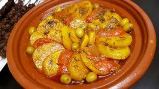 طاجين البطاطا و الزيتون بدون لحم لذييييييذ جدااا سهل و سريع التحضير / طاجين بطاطس بدون لحم