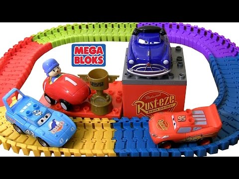 Pocoyo wins Piston Cup Race MegaBloks CARS 7794 Playset Disney Pixar Cars Swiggle Traks Racetrack