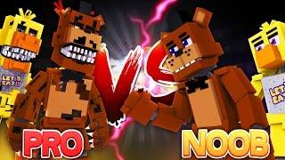 Minecraft NOOB V PRO CHALLENGE - FREDDY FASBEAR SURVIVAL CHALLENGE - Donut the Dog Minecraft