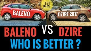 NEW MARUTI DZIRE 2017 VS MARUTI BALENO ( BEST COMPARISON )