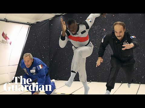Usain Bolt floats to victory in zero gravity race