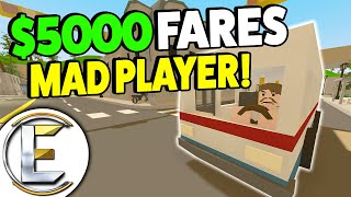 Player Goes Mad Over A $5000 Bus Fare - Unturned Bus Roleplay (BUS DRIVER RP GOOD MONEY!)