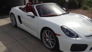 2016 Porsche Boxster Spyder exterior walk around white with red alcantara interior