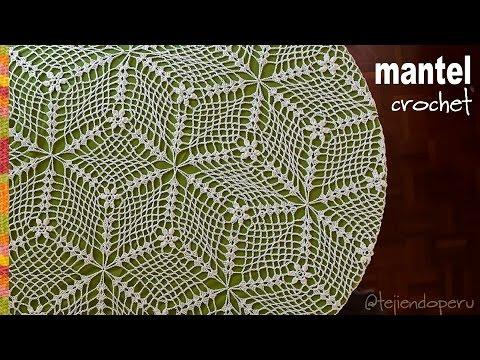 Mantel o tapete tejido a crochet Tejiendo Perú