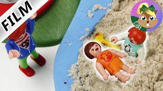 بلايموبيل الفيلم و شجار بابى ايما فى الرمال مع طفل على جروف  - شجار الرمال | عائلة الطيور