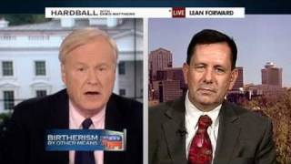 BIRTHER ASS GETS KICKED BY CHRIS MATTHEWS! DONALD TRUMP AND TEA-PARTY  BIRTHER CLAIMS SET STRAIGHT.