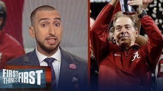 Nick Wright reacts to Nick Saban's 5th title for the Alabama Crimson Tide | FIRST THINGS FIRST