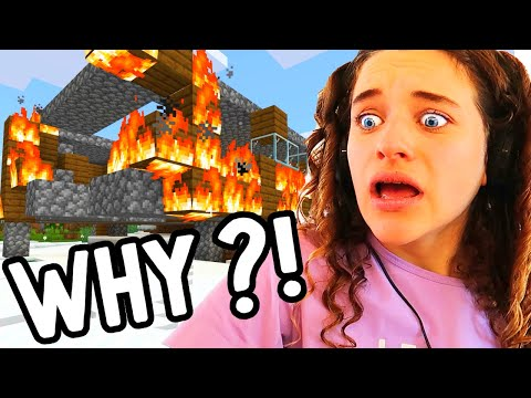 BLOWING UP SABRE S HOUSE IN MINECRAFT & Surprising her with a new one Gaming w The Norris Nuts