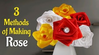 Flower Making : Learn How to Make 3 Easy Methods of Satin Ribbon Rose | Decoration Ideas