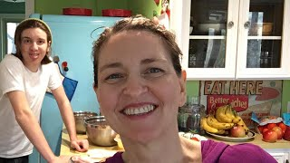 Mom and Teen Son cook plant-based meal together
