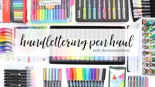 PEN HAUL with swatches 2019 | Huge Lettering Supplies and Stationery Haul with Demos