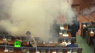 Opposition MPs throw smoke grenades to disrupt vote in Kosovo's parliament