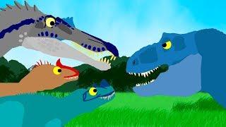 Dinosaurs Cartoons for kids - Dinosaurs ball game | Tyrannosaurus and Spinosaurus. GreenSpino