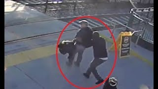 Blind man saved by Samaritan who stops him walking into train