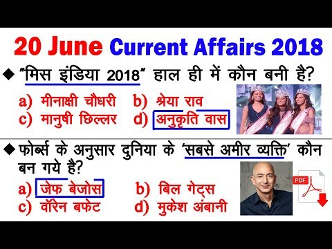 Daily Current Affairs 20 June 2018 | #100 |#educationaru | Important Current Affairs News in Hindi
