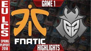 FNC vs G2 Highlights Game 1 | EU LCS Grand Final Playoffs Spring 2018 | Fnatic vs G2 Esports G1