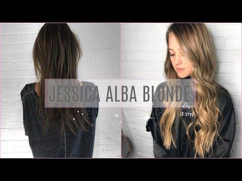 JESSICA ALBA BLONDE   mixing highlights and balayage