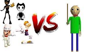 Mario,Rayman,Bendy and Joey Vs. Baldi's Basics