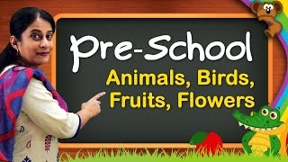 Pre School Learning For Kids | Animals, Birds, Animal Sounds, Fruits, Flowers, Vegetables
