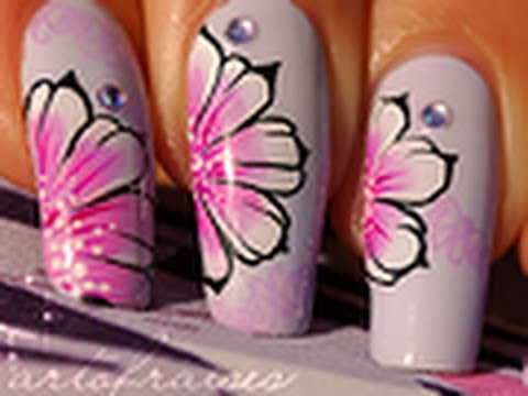 Nail art one stroke style russe