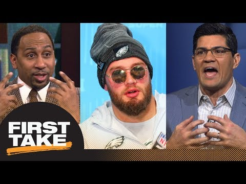 Stephen A. Smith and Tedy Bruschi shut down Lane Johnson s comments on Patriots First Take ESPN