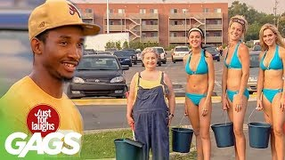 Bikini Car Wash Prank - Just For Laughs Gags