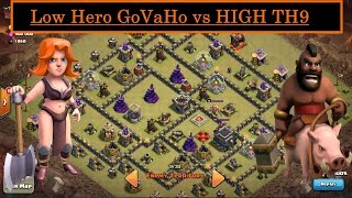 Low Hero GoVaHo. How to 3 STAR High TH9. Valkyrie  + Hogs. War Attack. Clash of Clans