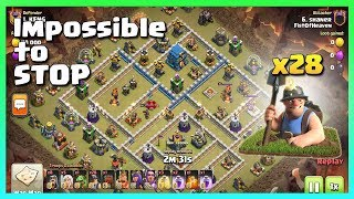 28 MINER+GOLEM= Impossible to STOP! | TH12 War Strategy #60 | COC 2018 |