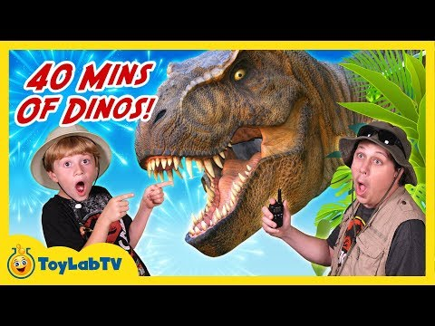 Giant Dinosaur Adventures 40 Minutes of Dinosaurs with T Rex in Fun Kids Video with Toys