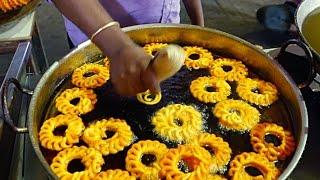 Indian Street Food - TASTY FRIED IMARTI Indian Sweets Jhangri | Urad Dal Jalebi