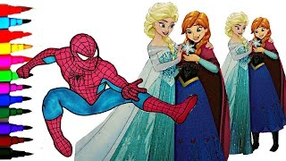 DISNEY FROZEN Elsa N' Anna vs Spiderman Coloring Book Videos Kids Fun Activities Kids Balloons Toys