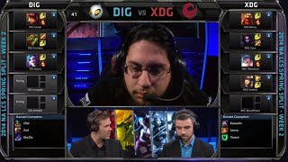 Dignitas vs XDG | 2014 NA LCS Spring split S4 W2D1 G1 | XDG vs Dignitas | DIG vs XDG full game HD