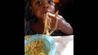 baby eating noodles 2