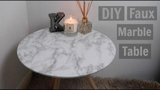 DIY Faux Marble Table - UNDER $5    Kiera Graham
