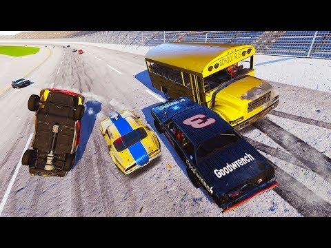 A BUS IN A NASCAR RACE?! DESTRUCTION AT TALLADEGA! - Next Car Game Wreckfest Car Mods