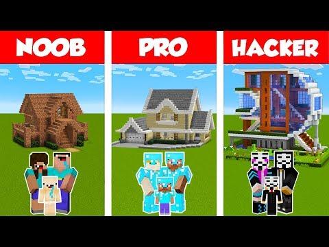 Minecraft NOOB vs PRO vs HACKER FAMILY HOUSE BUILD CHALLENGE in Minecraft Animation