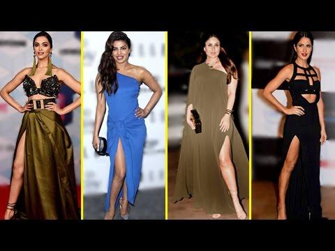 Kareena Kapoor, Katrina Kaif,Deepika,Priyanka Show Off Sexy Legs - Thigh High Slit