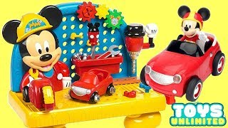 Disney Jr. Mickey Mouse Handy Helper Workbench Playset, Roadster Racers Minnie Car Crash Tool / TUYC