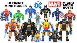 Ultimate Batman Iron Man Superman Hulk Spider-Man Cap & Micro Mech Suits UnOfficial LEGO Set
