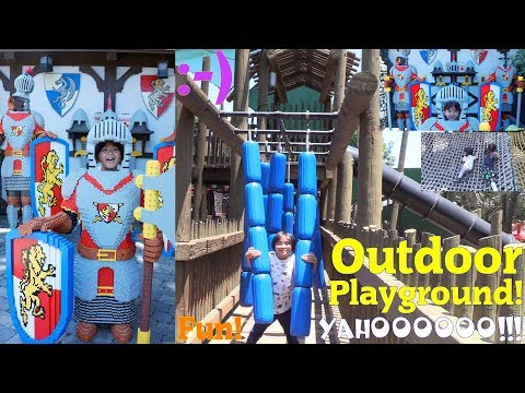 Family Outdoor Playground at Legoland Theme Park. Kids' Wooden Playground Playtime