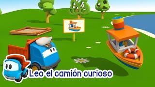 Leo el camión curioso - El barco | Dibujos de construcción 3D para niños