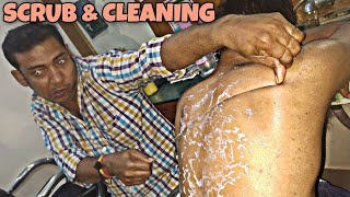 Body scrub and body cleaning by Indian barber | Powerful neck cracking | ASMR