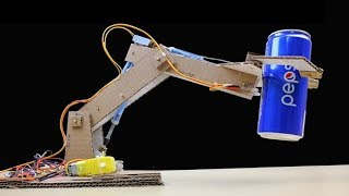 Make RC Robotic arm from cardboard and Dc Motor - Simple JCB Hydraulic (mini Excavator)