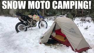 MOTORCYCLE CAMPING IN THE SNOW! WR250R!