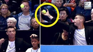 Cristiano Ronaldo Fails To Catch The Tennis Ball Before It Bounced On GF