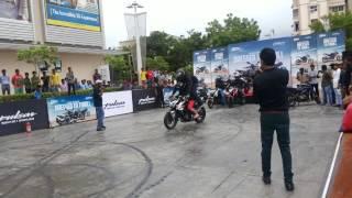 Sangita chauhan in stunt on pulsar bike