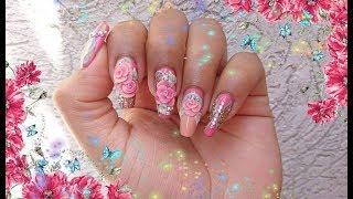 💅Nude+rosa+menta+dorado/rosas 3D/ 💅