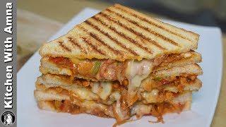 Chicken Fajita Sandwich Recipe - Chicken Cheese Sandwich - Kitchen With Amna