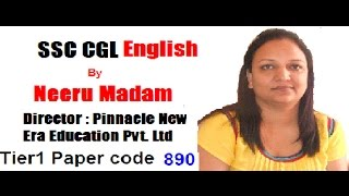 English by Neeru madam : SSC CGL paper code 890 English section