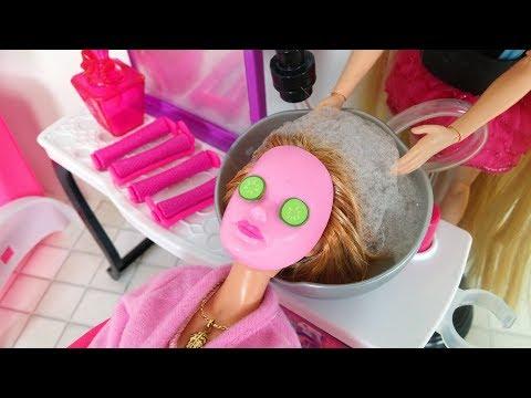 Barbie Doll Hair Salon - Cinderella Barbie Hair Cut Hair Washباربي صالون الشعرBarbie Salão de Beleza
